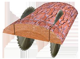 Схема обработки кромкообрезного двухпильного станка ЦОД-450, ЦОД-500