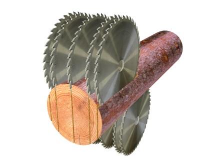 Схема распиловки брусовального двухвального станка с гусеничной подачей мод. «KRAFTER»