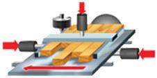 Станок шипорезный односторонний с узлом клеенанесения TSK 15AP, схема обработки