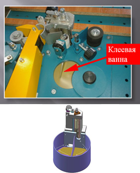 Кромкооблицовочный станок PF-21, Клеевой бочок кромкооблицовочного станка с ручной подачей