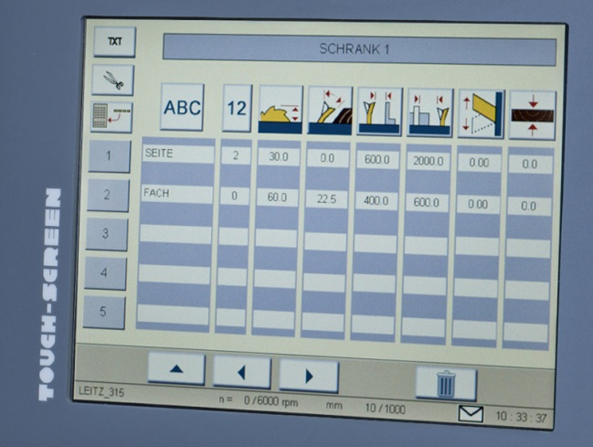 Форматно-раскроечный станок «MARTIN Т75 PreX», Управление инструментом